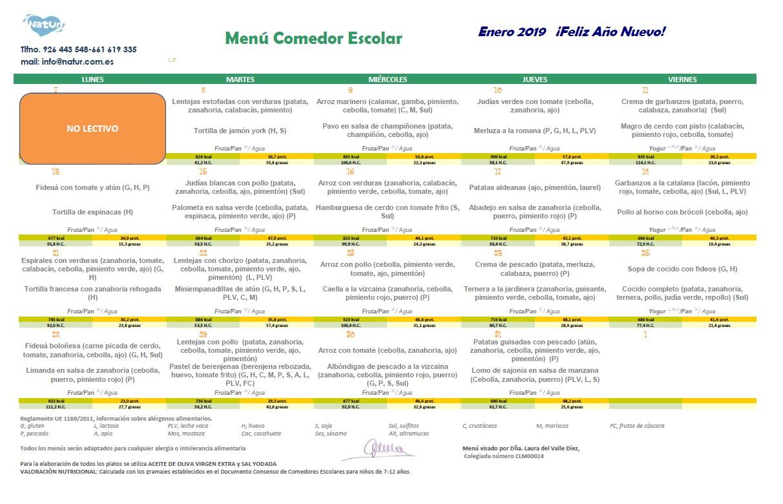 MENÚ COMEDOR ESCOLAR - ENERO 2019   CEIP San José de Calasanz ...